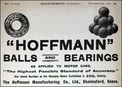 Hoffmann Bearings advert from 1909
